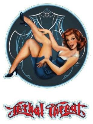 Retro Pin-up Girl Blue Pinstripe Sticker