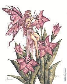 Pink Summer Lily Fairy Sticker