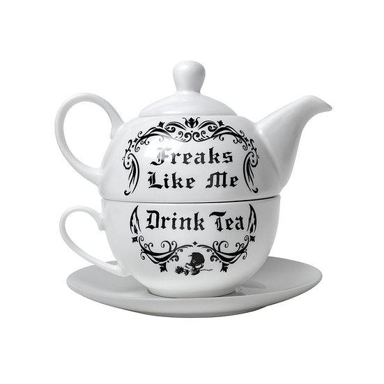 Freaks Like Me Drink Tea Tea-for-One Tea Pot Set by Alchemy Gothic 1977