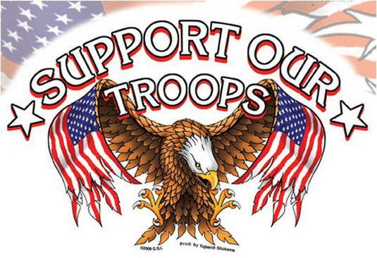 Support Our Troops American Flag Sticker
