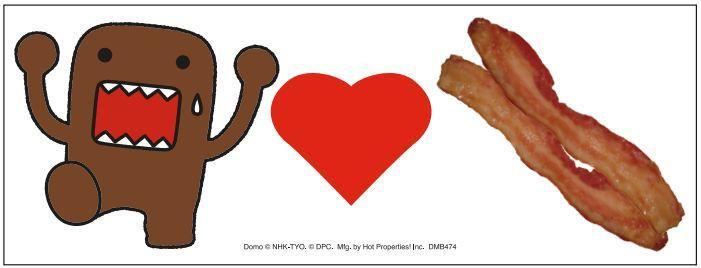 Domo Loves Bacon Bumper Sticker Magnet