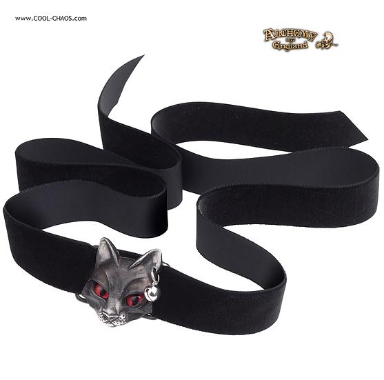 Bastet Cat Goddess Black Riboon Choker / Pewter Cat Necklace