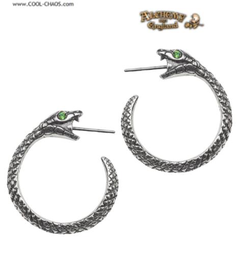Ouroboros Serpent Hoop Earrings / Pewter Snake Crystal Earrings