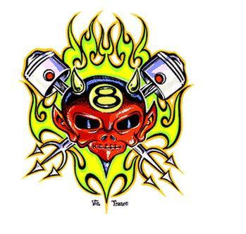 Neon Flames Piston Devil Hot Rod Sticker