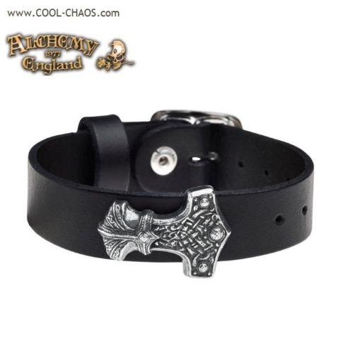 Pewter Thor Hammer Wriststrap / Mjolnir / Black Leather Bracelet,Alchemy Gothic