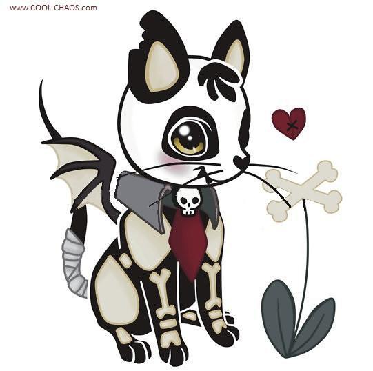 Bones Vampire Kitty Sticker