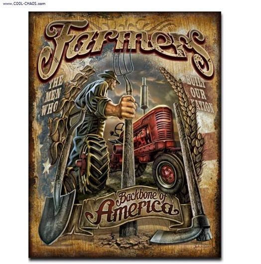 Backbone of America Farmers Tin Sign