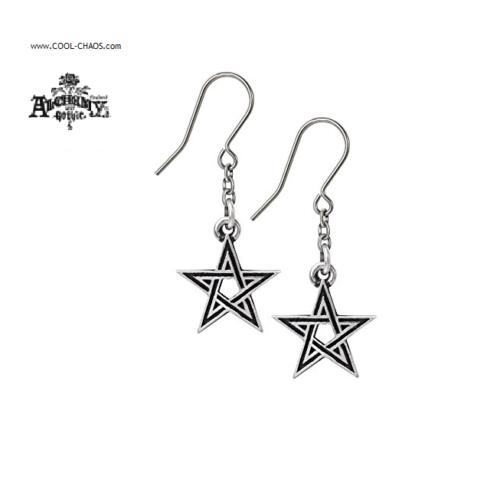 Pewter Pentagram Earrings / Black Star Pewter Earrings