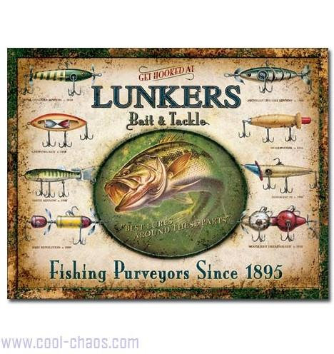 Lunkers Bait + Tackle Fishing Sign