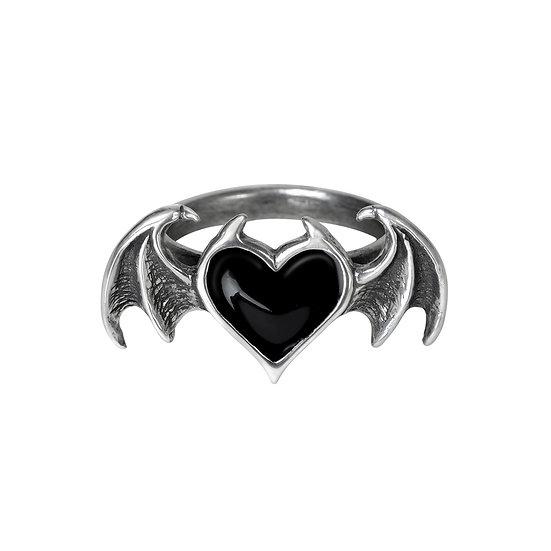 Pewter Bat Wings Black Heart Ring