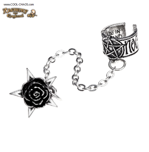 Black Rose Stud Pentagram Pewter Ear Cuff Earring