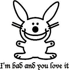 Happy Bunny Bad Window Decal