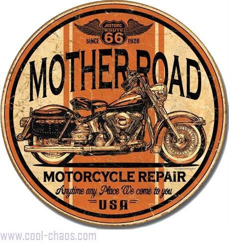 Mother Road Motorcycle Route 66 Tin Sign