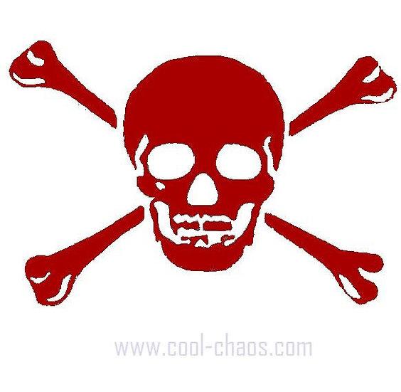 Skull and Crossbones Red Rub on Sticker