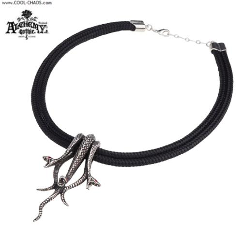 Pewter Medusa's Hydra Necklace / P820 Alchemy Gothic 1977