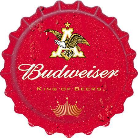 Budweiser Beer Bottle Cap Tin Sign
