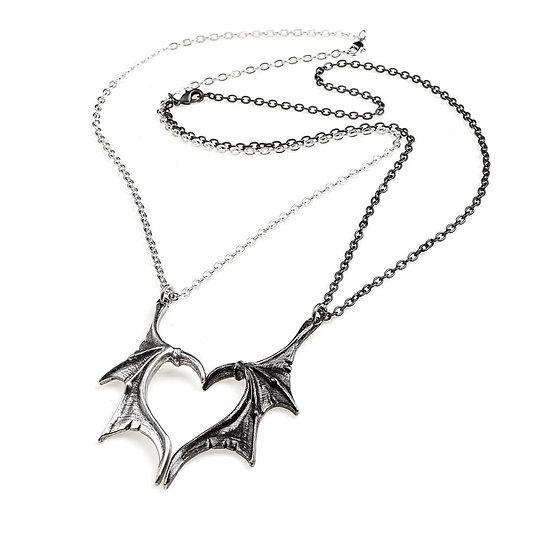 Pewter Dragon Wing Necklaces Pair Best Friend Necklaces