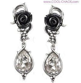 Bacchus Goddess Wine & Black Roses Earrings