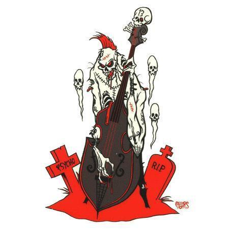 Evil Rockers Sticker #2 Psycho Base Guitar Sticker