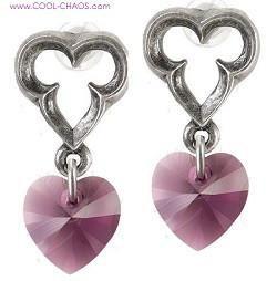 Elizabethan Style Pewter Window Purple Heart Earrings
