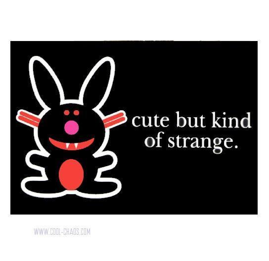 Cute but kinda Strange Happy Bunny Postcard
