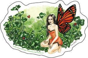 Clover Monarch Butterfly Fairy Sticker Art