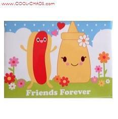 Retro Mustard & Hot Dog Friends Forever Magnet