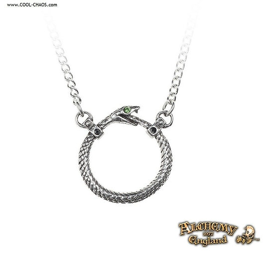 Ouroboros Serpent Necklace / Pewter Snake Crystal Pendant by Alchemy Gothic 1977