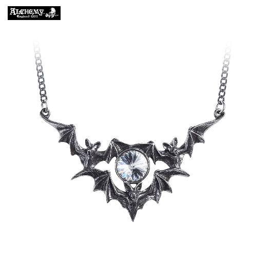 Vampire Necklace / Pewter Bat Phantom of the Night Vampire Bat Crystal Pendant