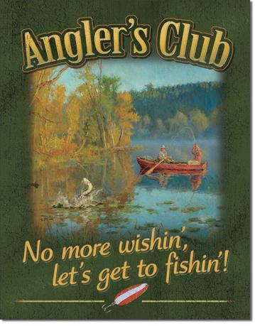 Anglers Club Fishing Cabin Tin Sign
