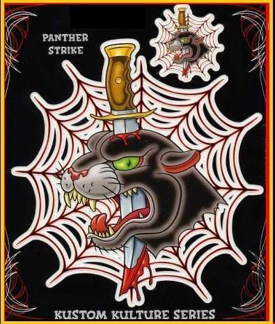 Tattoo Panther Dagger Big Cat Stickers Set