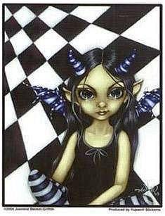 Checkered Gothic Fairy Sticker