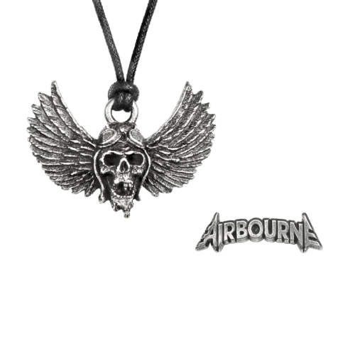 Airbourne Necklace & Pin / Hat Pin Set / Pilot Airborne Wings Skull Pewter Set