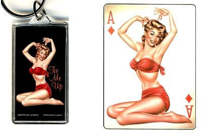 Retro Pin-up Art Keychain Sticker Gift Set #1 Aces Pinup Girl