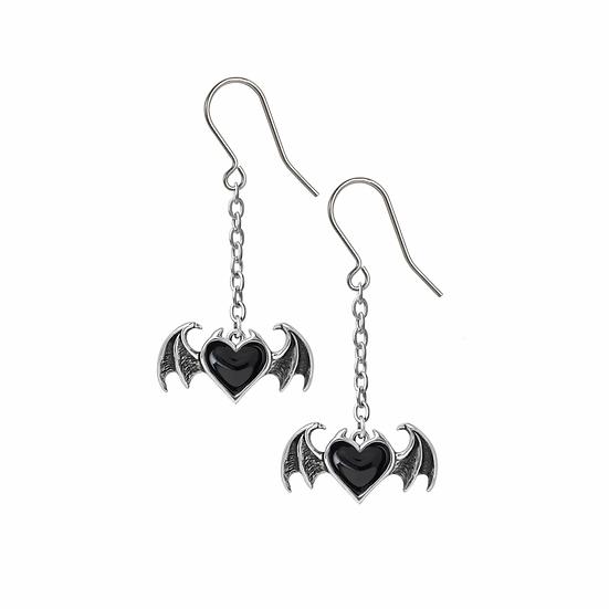 Pewter Black Heart Drop Earrings