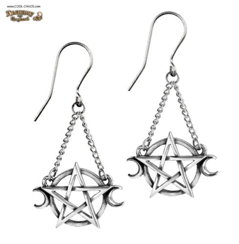 Pewter Triple Moon Goddess Earrings / Pentagram Moon Earrings