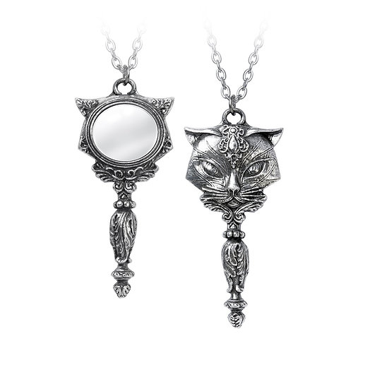Mystic Cat Pewter Cat Necklace Mirrored Pendant by Alchemy Gothic 1977