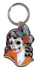 Day of the Dead Lady Butterfly Keychain