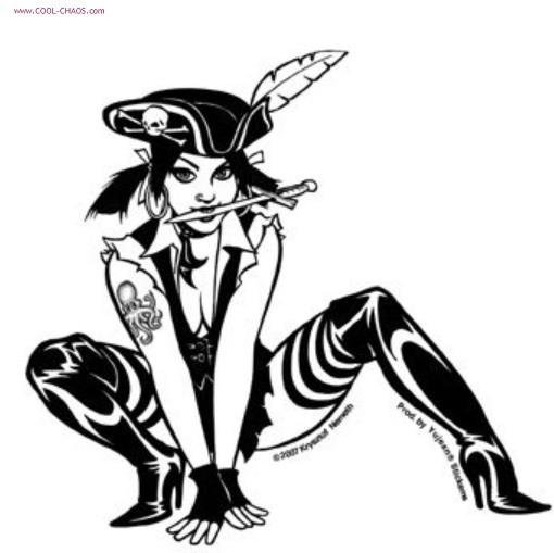Sexy Pirate Pin-up Girl Sticker