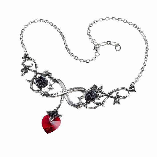 Pewter Infinite Love Red Crystal Necklace