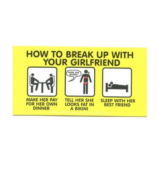 How to break-up with your Girlfriend Gag Gift Sticker