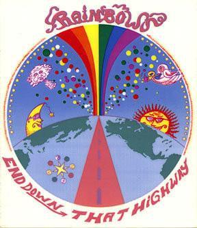 Retro Rainbows End down that Highway Sticker