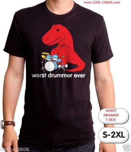 T-Rex Drummer T-Shirt / Funny T-rex / Worst Drummer Ever