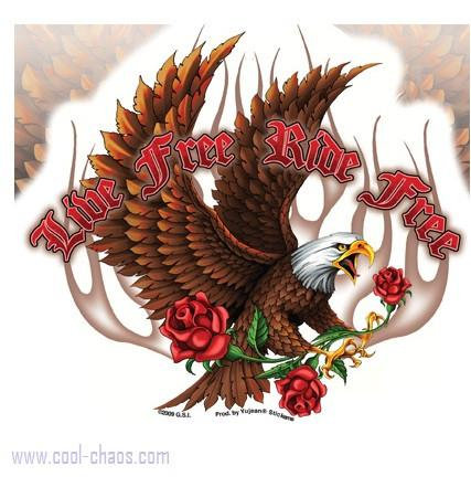 Gold flames Eagle Sticker