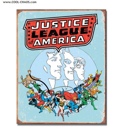Justice League Sign / Marvel Comics, Replica Distressed Tin Sign