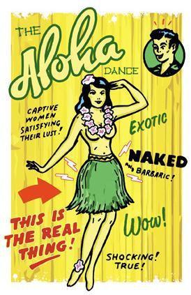 Aloha Dancing Hula Girl Lowbrow Pin-up Postcard