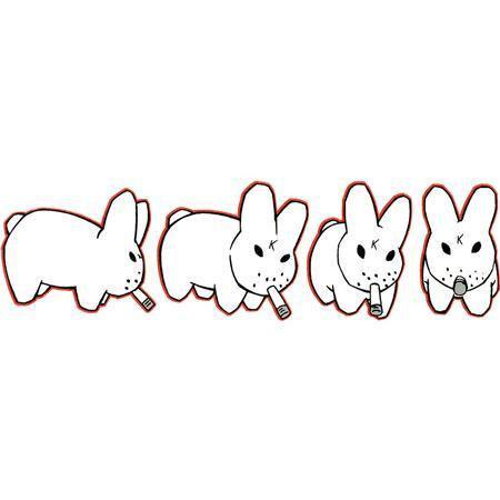 Smokin Rabbits Sticker by Frank Kozik