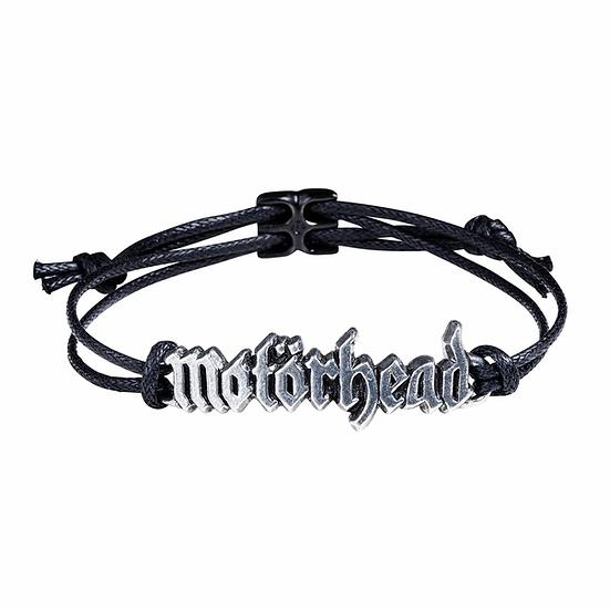 Motorhead bracelet / black corded wrist bracelet pewter logo bracelet