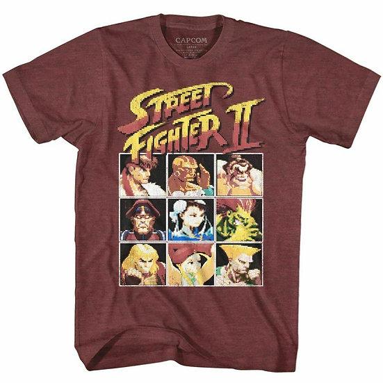 Street Fighter II T-Shirt / Street Fighter 2 Video Game 8BIT PIxels 80's Tee