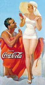 Retro 40s Beach Couple Coca-Cola Novelty Tin Sign
